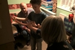 A rare picture of Grandma Jean touching Rex!